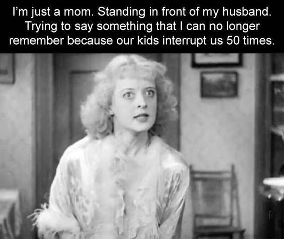 """Best Memes Of All Time """"I'm just a mom. Standing in front of my husband. Trying to say something that I can no longer remember because our kids interrupt us 50 times."""" width="""